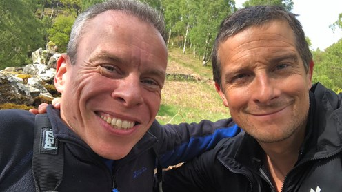 Warwick Davis and Bear Grylls